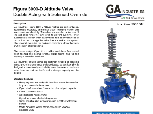 Double Acting with Solenoid Data Sheet 3900-01C