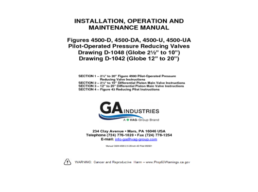 OandM 2-5-20inch Figure 4500 With 43 Pilot 092821