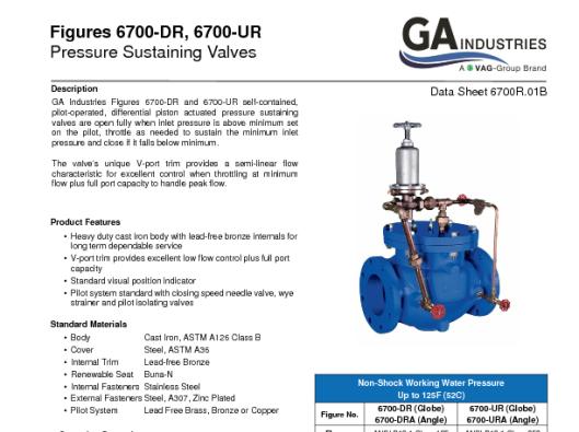 Pressure Sustaining Data Sheet 6700R-01B