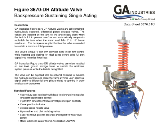 Single Acting with Backpressure Feature Data Sheet 3670-01C