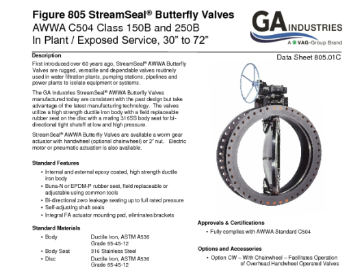 Figure 805 StreamSeal Data Sheet 805-01C